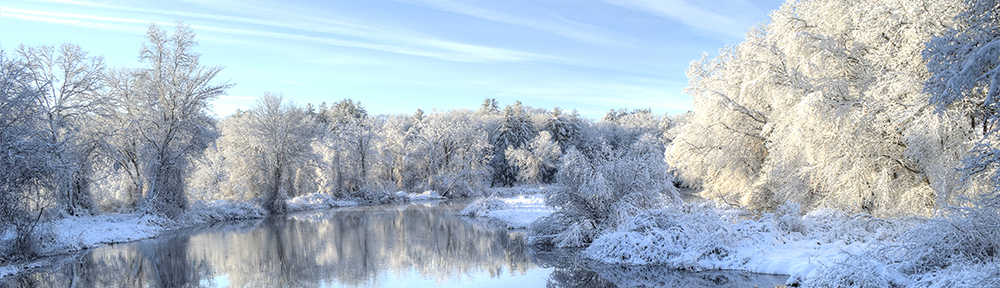 Charles River Dover MA in snow